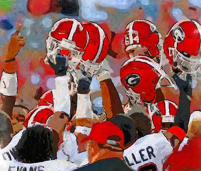 Georgia Bulldog Painting - Helmets Of Georgia by John Farr