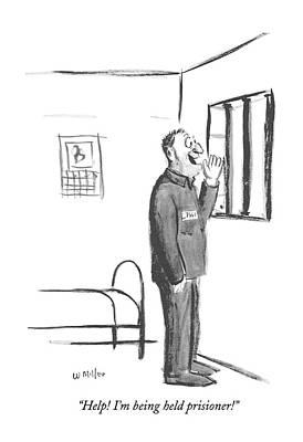 Help! I'm Being Held Prisioner! Art Print by Warren Miller