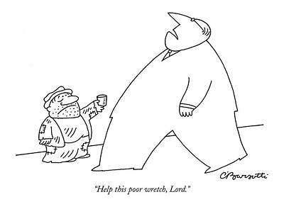 Tin Cup Drawing - Help This Poor Wretch by Charles Barsotti