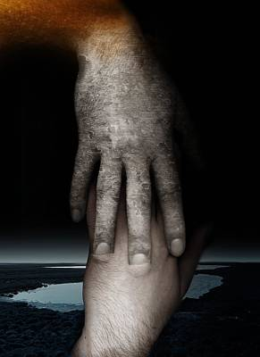 Digital Touch Photograph - Helping Hand by Johan Lilja