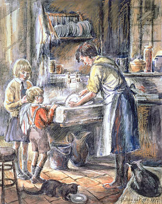 Helping With The Washing Up, 1975 Wc And Crayon Print by Anthea Durose