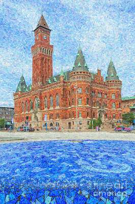 Helsingborg Painting - Helsingborg Town Hall Painting by Antony McAulay
