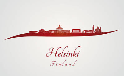 Helsinki Finland Digital Art - Helsinki Skyline In Red by Pablo Romero