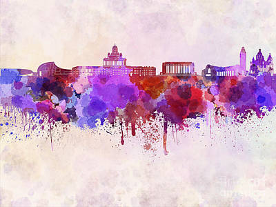 Helsinki Finland Digital Art - Helsinki Skyline In Watercolor Background by Pablo Romero