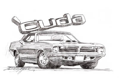 Iconic Car Drawing - Hemi Cuda Power by David Lloyd Glover