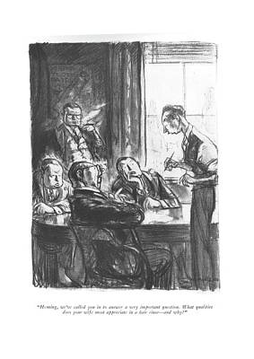 Director Drawing - Heming, We've Called You In To Answer by Wallace Morgan