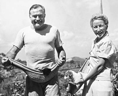 Havana Photograph - Hemingway, Wife And Pets by Underwood Archives