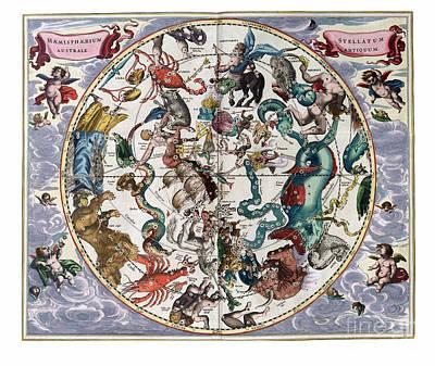 Hemispharium Astraule Art Print by Johannes Hevelius