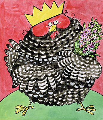 Fun Flowers Drawing - Hen by Maylee Christie