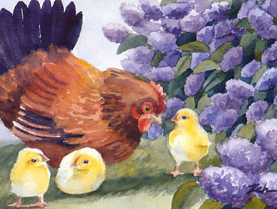 Painting - Hen And Chicks Among The Lilacs by Janet Zeh