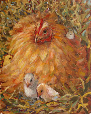 Hen And Chicks Art Print