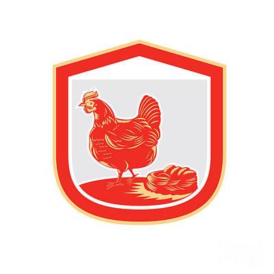 Poultry Digital Art - Hen Chicken Nest Egg Shield Retro by Aloysius Patrimonio