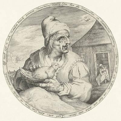 Pecking Drawing - Hen-pecked Husband, Harmen Jansz Muller, Cornelis Danckerts by Harmen Jansz Muller And Cornelis Danckerts (i)
