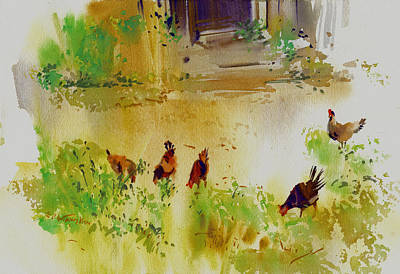 Hen Pecked Art Print by P Anthony Visco