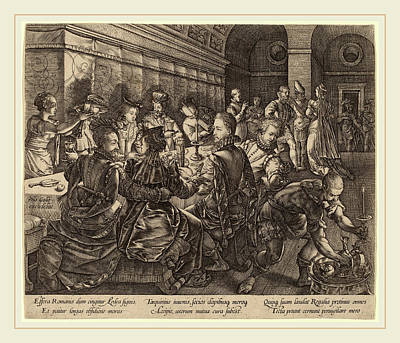 Banquet Drawing - Hendrik Goltzius Dutch, 1558-1617, Banquet At The House by Litz Collection