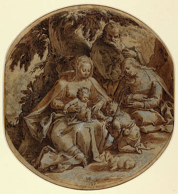 Hendrik Goltzius, Dutch 1558-1617, The Holy Family Print by Litz Collection