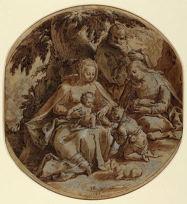 Wash Drawing - Hendrik Goltzius Dutch, 1558 - 1617, The Holy Family by Quint Lox