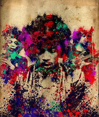 Abstract Portrait Painting - Hendrix 2 by Bekim Art