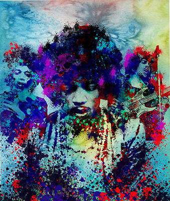 Jazz Legends Wall Art - Painting - Hendrix 3 by Bekim Art
