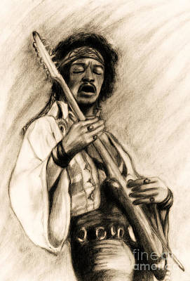 Stratocaster Drawing - Hendrix-antique Tint Version by Roz Abellera Art