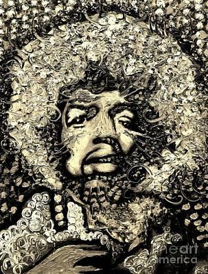 Painting - Jimi Hendrix by Michael Kulick