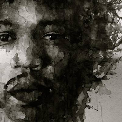 Jimi Painting - Hendrix   Black N White by Paul Lovering
