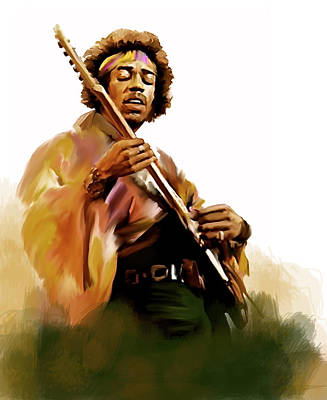 Iconic Painting - Hendrix II  Jimi Hendrix by Iconic Images Art Gallery David Pucciarelli