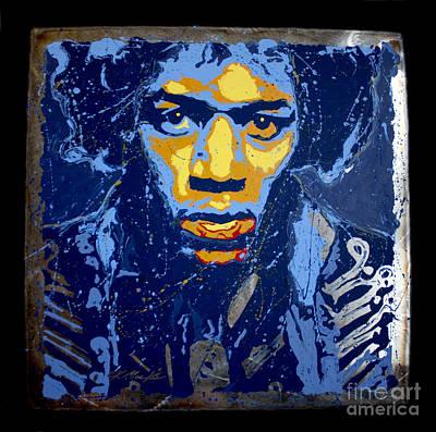 Henrix Painting - Hendrix On Steel by Chris Mackie