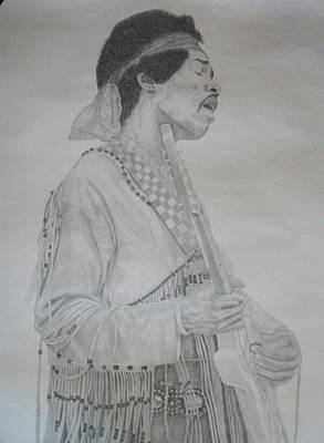 Drawing - Jimi Hendrix Pencil Drawing. by Photo Shirts