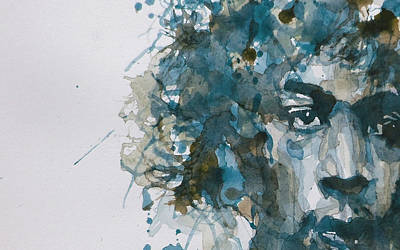 Portrait Painting - Hendrix Watercolor Abstract by Paul Lovering