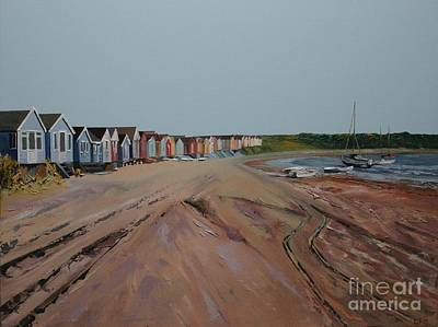 Painting - Hengistbury Beach Huts by Linda Monk