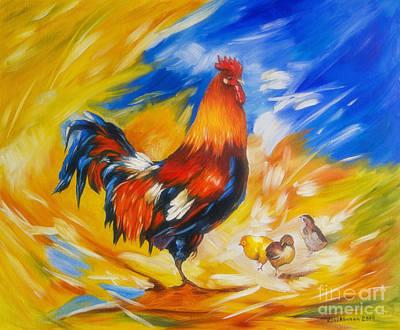 Animals Paintings - Henhouse host by Veikko Suikkanen