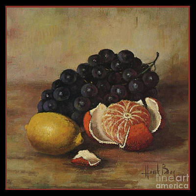 Henk Bos Fruits Still Life Grapes Lemon And Orange Art Print by Pierpont Bay Archives