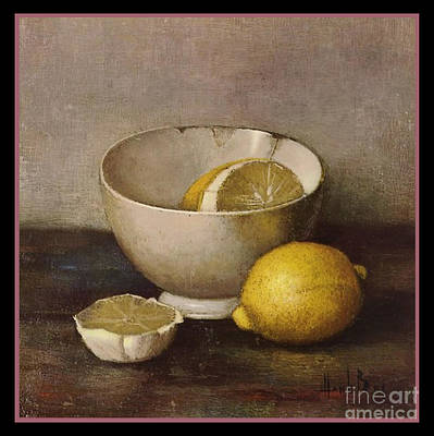Henk Bos Fruits Still Life Lemons With White Bowl Art Print by Pierpont Bay Archives