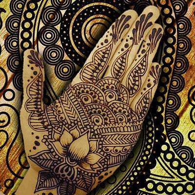 Indian Wedding Painting - Henna Indian Beauty 1 by Tony Rubino