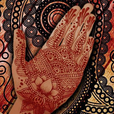 Indian Wedding Painting - Henna Indian Beauty 2 by Tony Rubino