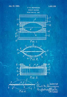 Hennegan Novelty Headwear Patent Art 1923 Blueprint Art Print