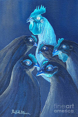Digital Art - Henpecked In Blue by Bill Holkham
