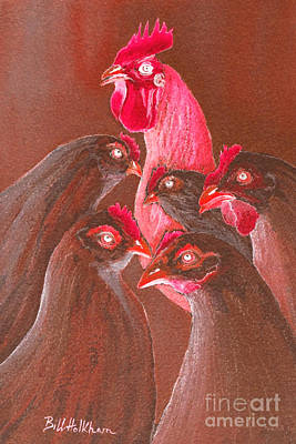 Luminous Digital Art - Henpecked In Red by Bill Holkham