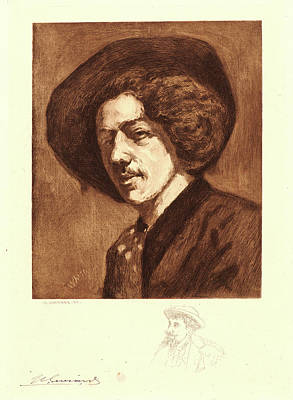 Self-portrait Drawing - Henri Charles Guérard French, 1846 - 1897 After James by Litz Collection