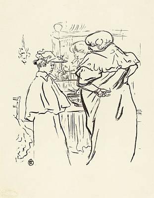 Mirror Drawing - Henri De Toulouse-lautrec, Two Women Before A Mirror by Quint Lox