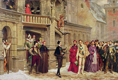 Chateau Photograph - Henri IIi And The Duc De Guise, 1855 Oil On Canvas by Pierre Charles Comte