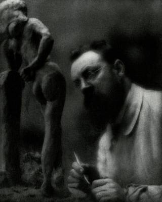Artist Working Photograph - Henri Matisse Sculpting by Edward Steichen