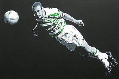 Painting - Henrik Larsson  - Celtic Fc by Geo Thomson