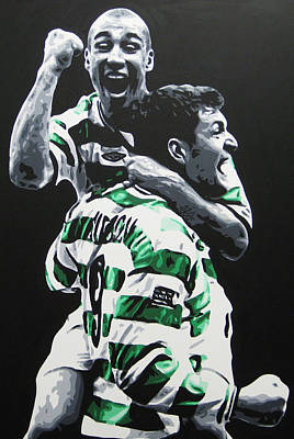 Painting - Henrik Larsson And Chris Sutton - Glasgow Celtic Fc by Geo Thomson