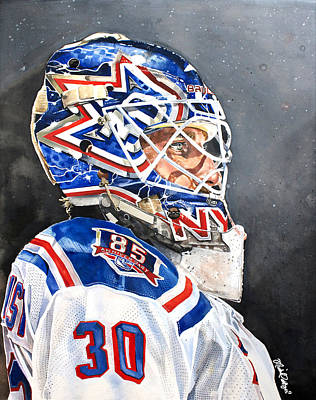 Goaltender Painting - Henrik Lundqvist - New York Rangers by Michael  Pattison