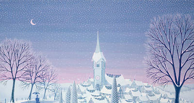 Village Church Painting - Henris Winter Innocence by Peter Szumowski
