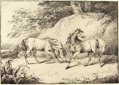 Wild Horses Drawing - Henry Bernard Chalon, British 1770-1849 by Litz Collection