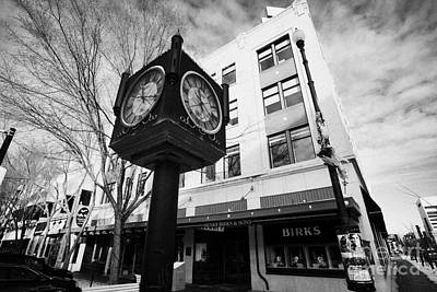 henry birks and sons jewellry store and town clock downtown Saskatoon Saskatchewan Canada Art Print by Joe Fox