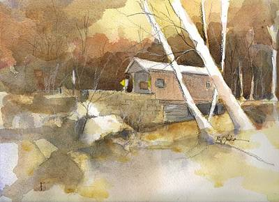 Covered Bridge Painting - Henry Bridge In Fall  by Robert Yonke